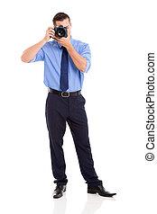 fotograf, nehmen, kugel