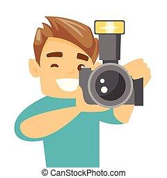 fotograf, nehmen, vektor, illustration., foto