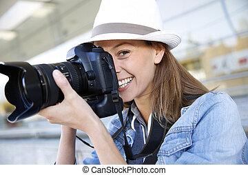 fotograf, professionell, fotoapperat, einfangend, foto