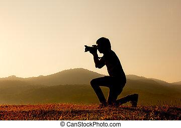 fotograf, silhouette