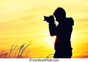 fotograf, silhuet