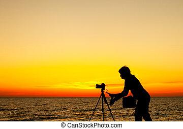 fotograf, sonnenuntergang, arbeitende