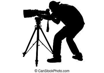 fotograf, sport, professionell, silhouette