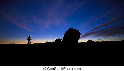 fotograf, sylwetka, krajobraz
