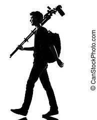 fotograf, sylwetka, młody mężczyzna