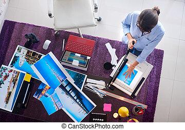 fotograf, und, künstler, arbeiten, bild, in, entwerfen studio