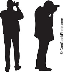 fotograf, vektor, silhouette