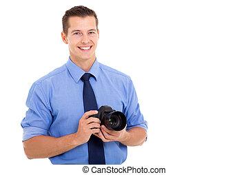 fotograf, weißes, junger, hintergrund