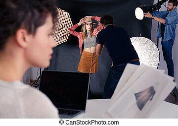 fotograf, wzór, pracujący