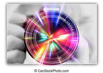 fotografar, lente, em, a, mãos, de, a, fotógrafo