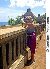 fotografare, tempio, mare, turista