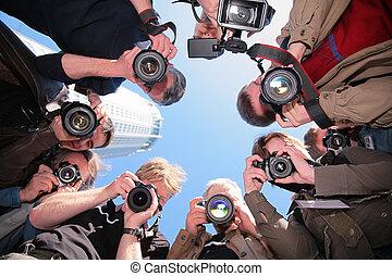 fotografen, auf, gegenstand
