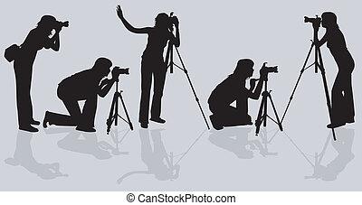 fotografer, skjutning, modell