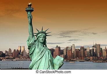 fotografera, begrepp, york, färsk, turism, stadsbild