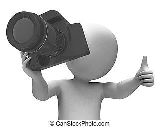 fotografera, dslr, foto, tagande, tecken, fotografi, visar