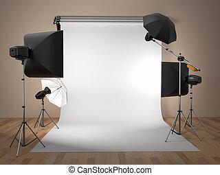 fotografi ateljé, equipment., utrymme, för, text.