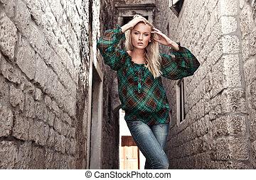 fotografi, firmanavnet, mode, ung pige