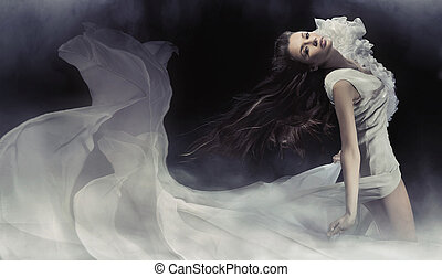 fotografi, forbløffende, brunette, dame, sensuelle