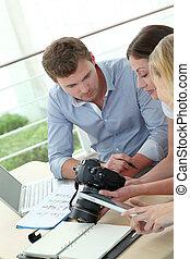 fotografi, hold, arbejde kontor, anmeldere