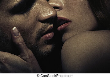 fotografi, i, sensuelle, kyss, par