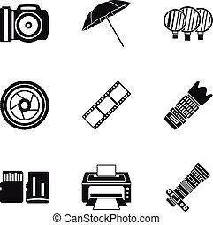 fotografi, ikonen, sätta, enkel, stil