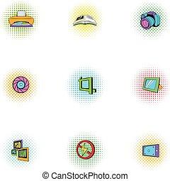 fotografi, ikonen, sätta, pop-art, stil