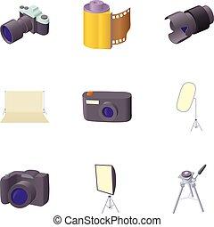 fotografi, ikonen, sätta, tecknad film, stil