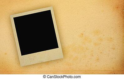 fotografi inrama, med, yellowed, avskrift tomrum
