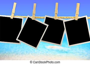 fotografi inramar, hängande, a, rep, framme av, den, hav