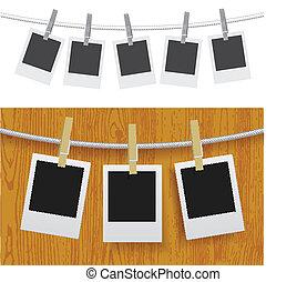 fotografi inramar, med, nålen, på, rep