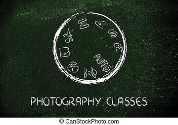 fotografi, kamera, konstruktion, urskive, skole