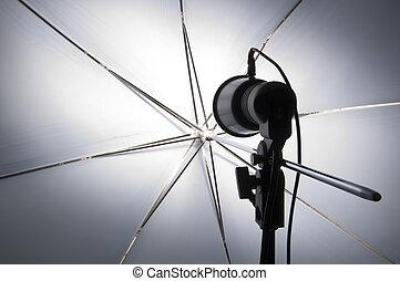 fotografi, kvikke op, hos, paraply