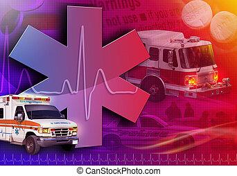 fotografi, medicinsk, redning, abstrakt, ambulance