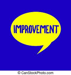 fotografi, ting, viser, improvement., tegn, godt, tekst, nyhed, begrebsmæssig, fremmarch, ændringer, voks, specielle, forarbejde