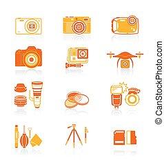 fotografia, ícones, ||, suculento, série