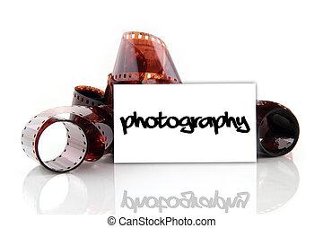 fotografia, -, cartão negócio