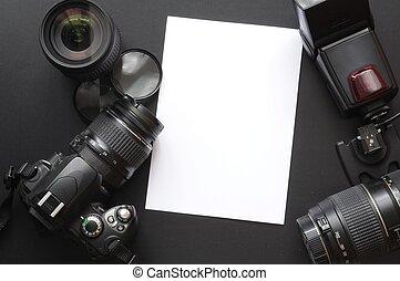 fotografia, com, câmera