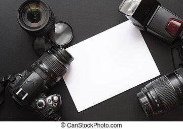 fotografia, con, macchina fotografica