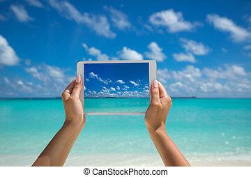 fotografia, concetto, computer, turista, tavoletta, schermo, -, donna tropicale, pc., sea., presa a terra, spiaggia, viaggiare
