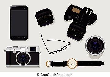 fotografia, equipamento, profissional