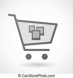 fotografia, ikona, shopping wóz, grono
