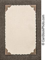 fotografia, karta, z, róg, frame., retro tytułują, zdejmować album