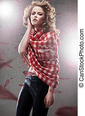 fotografia, kobieta, studio, młody, ładny