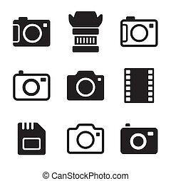 fotografia, komplet, aparat fotograficzny, przybory, ikony