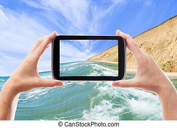 fotografia, krajobraz, wziąć, morze