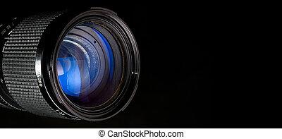 fotografia, lente, sopra, nero