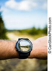 fotografia levando, com, smartwatch, câmera, wearable, tecnologia
