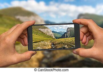fotografia levando, de, macedônio, montanhas, com, telefone...