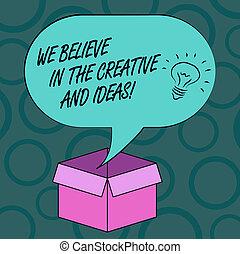 fotografia, na, idea, mieć, czysty, pisanie, otwarty, twórczość, twórczy, nuta, mowa, innowacja, karton, bańka, my, box., handlowy, pokaz, halftone, ideas., wierzyć, ikona, wiara, wnętrze, showcasing