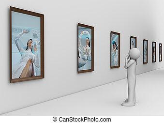 fotografia, nowoczesny, ganek, człowiek